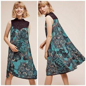 Maeve Butterfly Print Black Lace Green Swing Dress